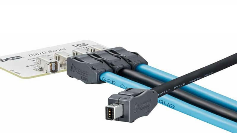 HIROSE's ix Industrial™ is a compact, shielded and robust I/O connector for high-speed transmissions.
