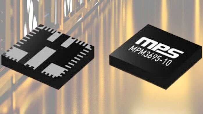The MPM3695-10 from MPS is a scalable, ultra-thin, fully integrated power module with a PMBus interface.
