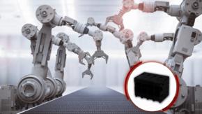Klemmenblock 0177 von DINKLE; Roboterarme/ Smart Factory im Hintergrund.