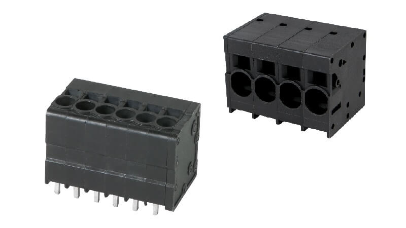 DINKLE's PCB terminal blocks with front entry push-in design withstands up to 1000V/76A.