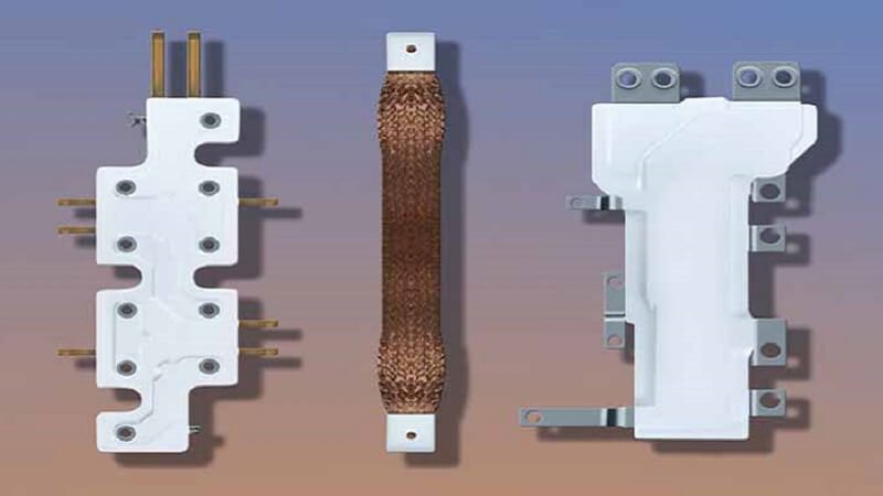 A busbar is a strip of metal used to conduct electricity within an electrical substation.
