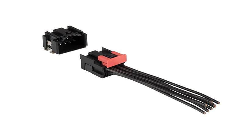 Crimp-to-wire connector platform by AMPHENOL ICC for automotive applications.