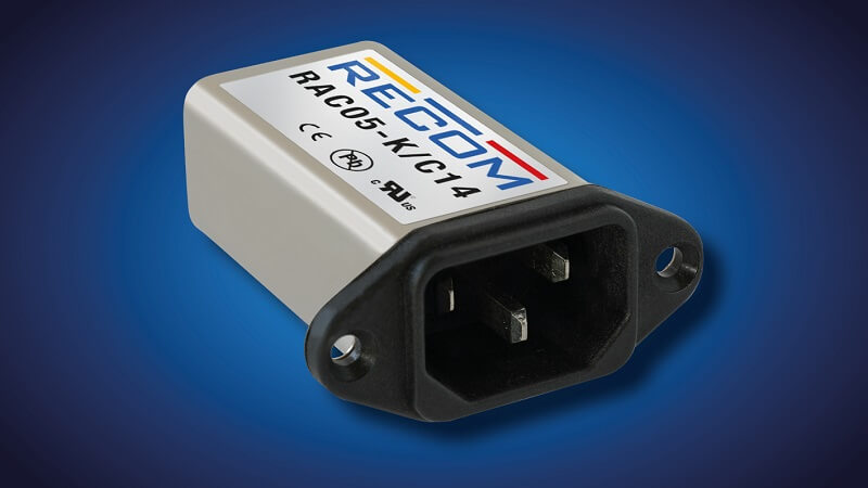 AC/DC power supply in IEC mains filter housing - unique design from RECOM.